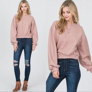 Teddy plush pullover in blush pink